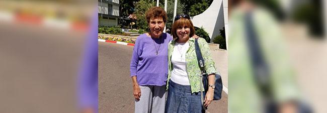 Helen Freedman with Naama Odess, mother of Elisha, meeting in Israel